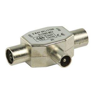 Valueline Coax Adapter Coax Male (IEC) - 2x Coaxconnector Female (IEC) Zilver
