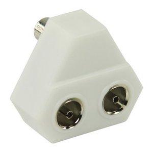 Valueline Coax Adapter Coax Male (IEC) - 2x Coaxconnector Female (IEC) Wit
