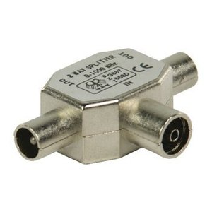 Valueline Coax Adapter Coax Female (IEC) - 2x Coaxconnector Male (IEC) Zilver