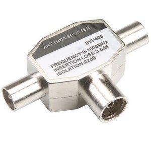 Bandridge Coax Adapter 2x Coaxconnector Male (IEC) - Coax Female (IEC) Zilver