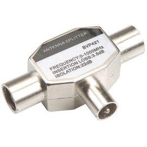 Bandridge Coax Adapter Coax Male (IEC) - 2x Coaxconnector Female (IEC) Zilver