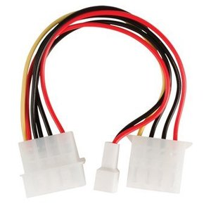 Valueline Interne Stroomkabel Molex Male - Molex Female + 3-Pins Fan Power 0.15 m