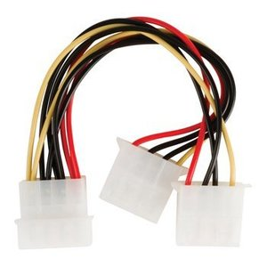 Valueline Interne Stroomkabel Molex Male - 2x Molex Female 0.15 m