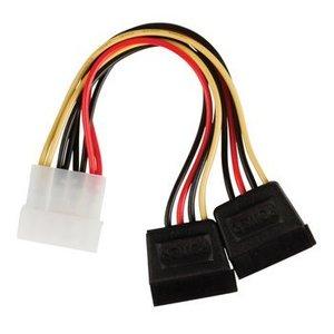 Valueline Interne Stroomkabel Molex Male - 2x SATA 15-Pins Female 0.15 m
