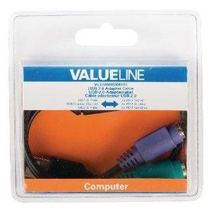 Valueline USB 2.0 Kabel A Male - 2x PS/2 Female 0.30 m Zwart