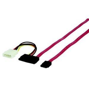 HQ Intern Interne SATA 1.5 Gb/s Kabel SATA 7-Pins Male + Molex Male - SATA 22-Pins Female 1.00 m Rood