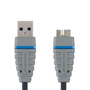 Bandridge USB 3.0 Kabel A Male - Micro-B Male Rond 2.00 m Blauw