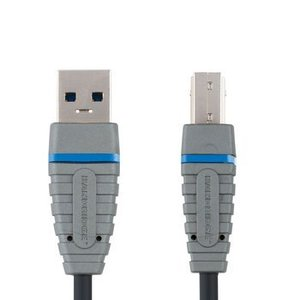 Bandridge USB 3.0 Kabel A Male - B Male Rond 3.00 m Blauw