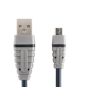 Bandridge USB 2.0 Kabel A Male - Micro-B Male Rond 1.00 m Blauw