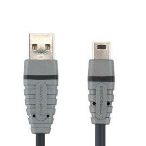 Bandridge USB 2.0 Kabel A Male - Mini-B Male Rond 4.50 m Blauw
