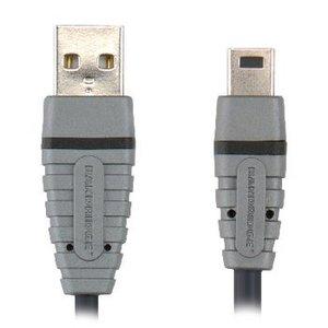 Bandridge USB 2.0 Kabel A Male - Mini-B Male Rond 1.00 m Blauw