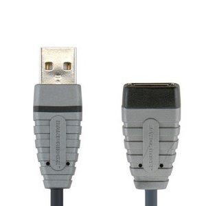 Bandridge USB 2.0 Verlengkabel A Male - A Female Rond 2.00 m Blauw