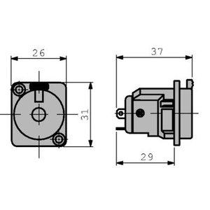 Neutrik Panel socket 6.35 mm 3P