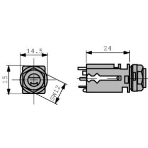 Neutrik Jack socket, PCB 6.35 mm 3P