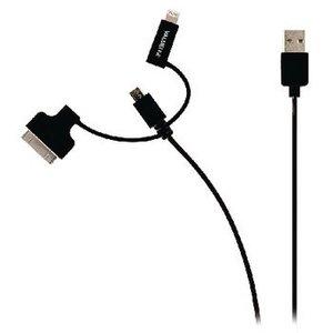 Valueline 3-in-1 Data en Oplaadkabel USB Micro-B Male + Dockadapter + Lightningadapter - A Male 1.00 m Zwart