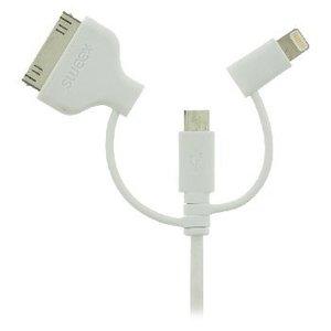 Sweex 3-in-1 Data en Oplaadkabel USB Micro-B Male + Dockadapter + Lightningadapter - A Male 1.00 m Wit