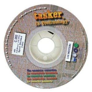 Tasker Microfoonkabel op Haspel 2x 0.08 mm² 100 m Zwart
