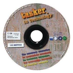 Tasker Microfoonkabel op Haspel 2x 0.35 mm² 100 m Zwart