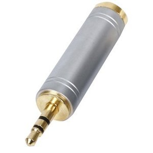 HQ Stereo Audio Adapter 3.5 mm Male - 6.35 mm Female Zilver