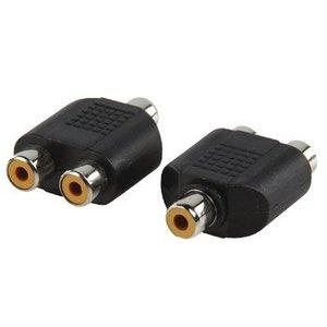 Valueline Stereo Audio Adapter RCA Female - 2x RCA Female Zwart