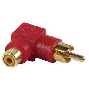 Valueline Stereo Audio Adapter 90° Haaks RCA Male - RCA Female Rood