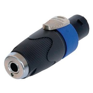 Neutrik Mono Audio Adapter Speaker 4-Pins Male - 6.35 mm Female Zwart