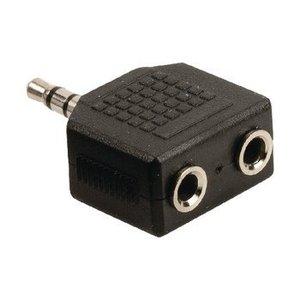 Valueline Stereo Audio Adapter 3.5 mm Male - 2x 3.5 mm Female Zwart