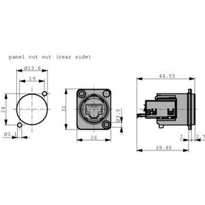 Neutrik Panel mount jack RJ 45 Nickel