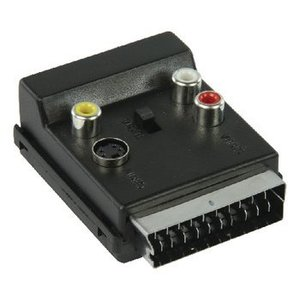 Valueline SCART Adapter Schakelbaar SCART Male - SCART Female + S-Video Female + 3x RCA Female Zwart