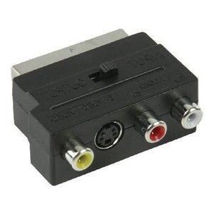 Valueline SCART Adapter Schakelbaar SCART Male - S-Video Female + 3x RCA Female Zwart