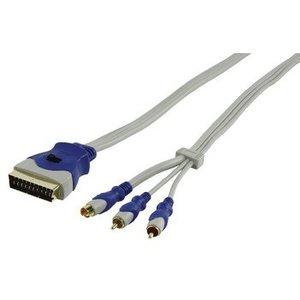 HQ SCART Kabel SCART Male - 2x RCA Male + S-Video Male 1.50 m Grijs