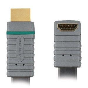 Bandridge High Speed HDMI kabel met Ethernet HDMI-Connector - HDMI-Connector Haaks 90° 1.00 m Blauw