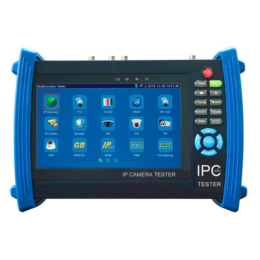 TVCC IP Tester / è un professionista, tester della macchina fotografica universale per IP, HDTVI, HDCVI, AHD e CVBS telecamere analogiche. Questo modello, con il sistema operativo Android, caratteristiche includono un multimetro digitale, una potenza PoE,
