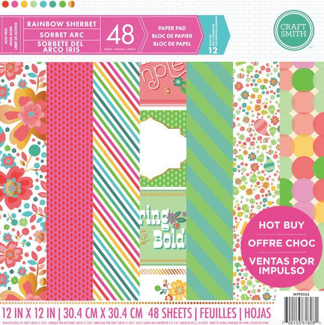 Craft Smith Rainbow Sherbet 12x12 Inch Paper Pad Mpp0062