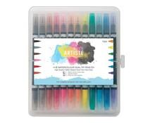 Docrafts Artiste Watercolour Dual-tip pens (12pk) Brush & Marker (DOA 851303)