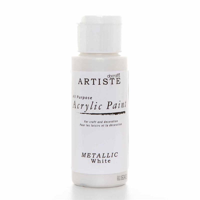 docrafts acrylic paint 2oz metallic white doa 763106 craftlines. Black Bedroom Furniture Sets. Home Design Ideas