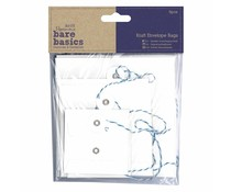 Papermania Bare Basics Kraft Envelope Bags Square White (6pcs) (PMA 174228)