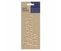 Papermania Bare Basics Wooden Sentiments Adventure, Discover, Life (3pcs) (PMA 174690)