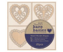 Papermania Bare Basics Wooden Shapes Filigree Hearts (20pcs) (PMA 174694)