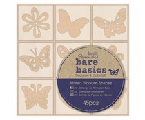 Papermania Bare Basics Wooden Shapes Flowers & Butterflies (45pcs) (PMA 174695)