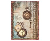 Stamperia Rice Paper A4 Clockwise Clock & Keys (DFSA4288)