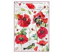 Stamperia Rice Paper A4 Botanic Poppy (DFSA4306)