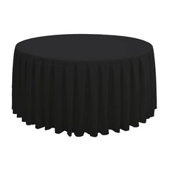 Tafellinnen voor ronde dinertafel zwart plissé