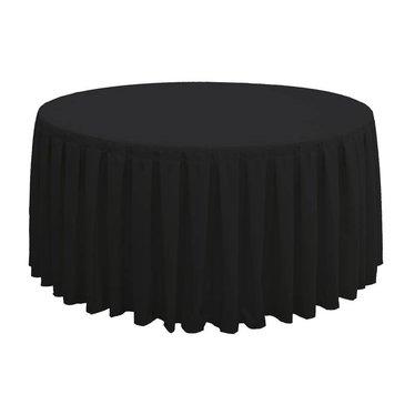 Tafellinnen voor ronde dinertafel zwart plissé inc. Napperons