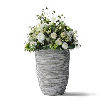 Groendecoratie in Design pot Wit/Grijs H108cm
