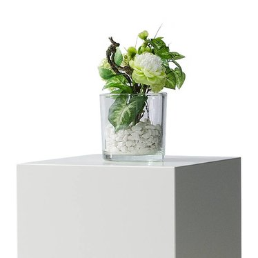 Groendecoratie in glazen vaas H25cm