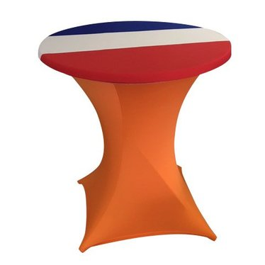 Statafel stretchhoes Oranje incl. top cover Rood-Wit-Blauw