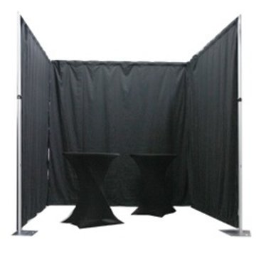 Pipe & Drape systeem geplooid incl. Molton CS zwart per m1 Hoogte: 300cm