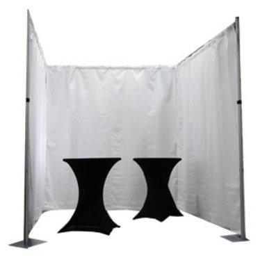 Pipe & Drape systeem geplooid incl. Polysatijn wit per m1 Hoogte: 300cm