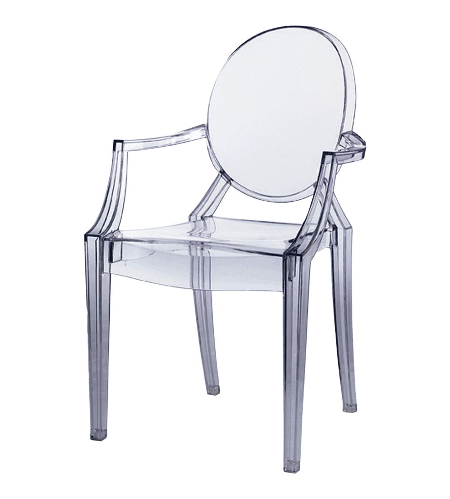 transparante ghost chair met armleuning farrows bv de eventinrichter. Black Bedroom Furniture Sets. Home Design Ideas